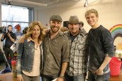 A messy picture wrap for Bridget Newton (Piper Dalt) and Kenton Duty (Jason Dalt), with A.D. Tyler Stratton and director Harold Cronk in the middle