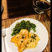 Chicken Piccata with Lemon Orzo & Broccoli Rabe with Garlic and Golden Raisins