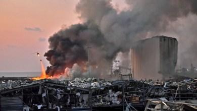 مرفأ بيروت مشتعلاً Photo Credit: AFP