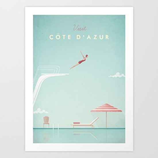 Vintage Côte d'Azur Travel Poster by travel Poster Co