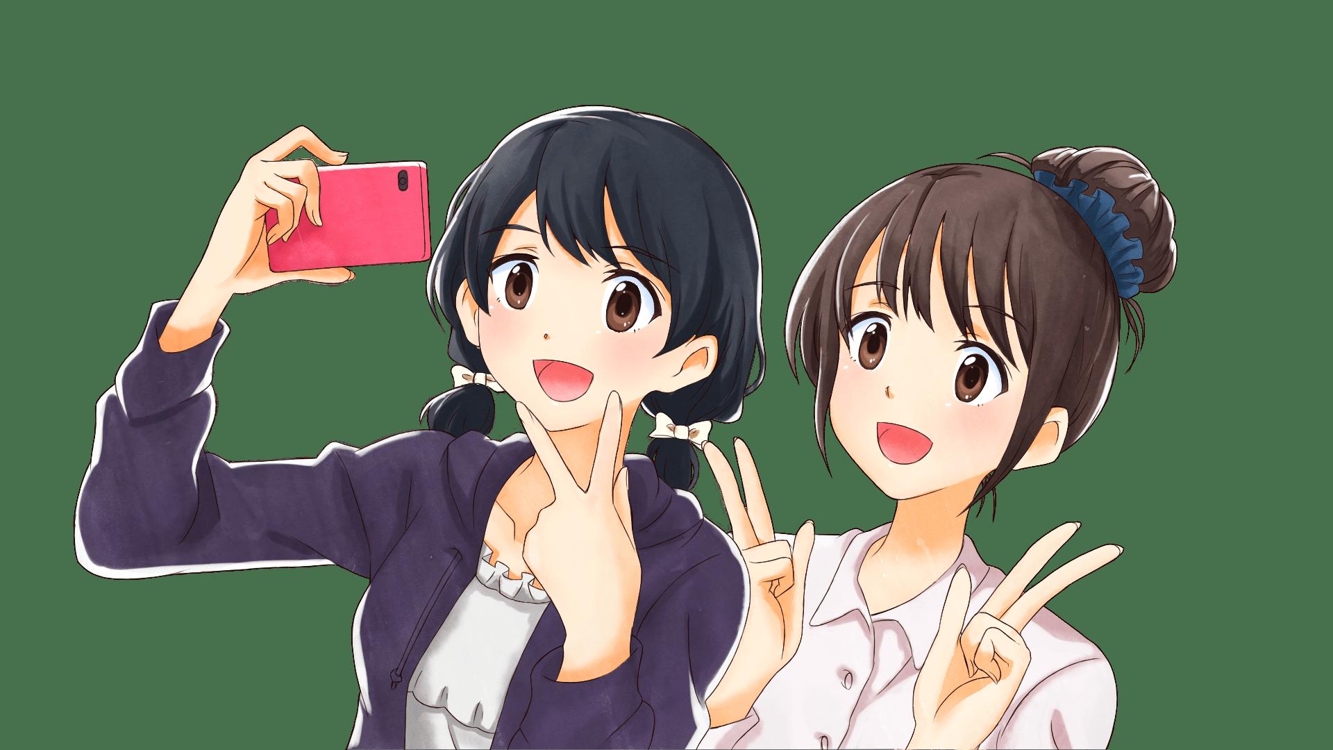 2人で自撮りする若い女の子たちのフリーイラスト画像素材商用無料