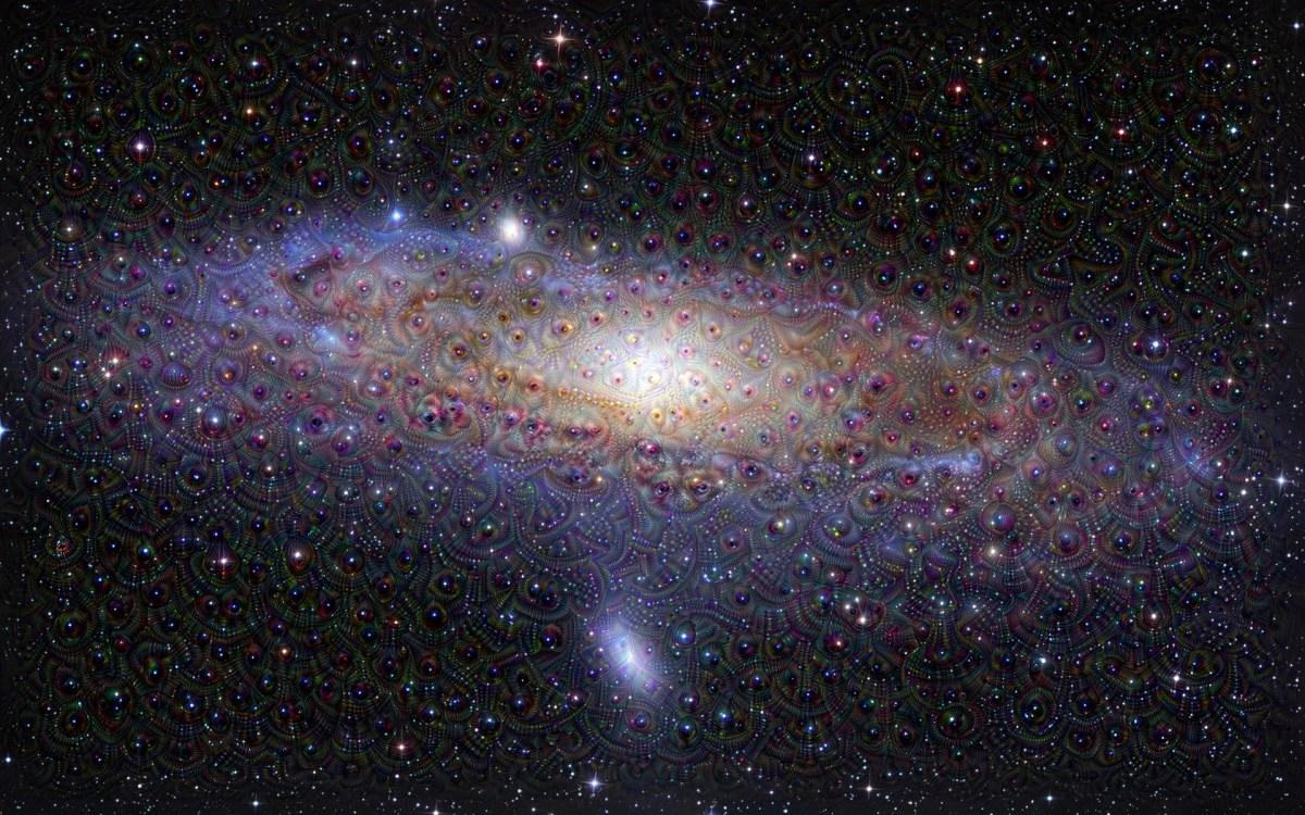 Milky Way galaxy run through deep dream deep learning GPU algorithm