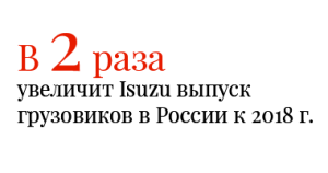 В 2 раза увеличит Isuzu выпуск грузовиков в России к 2018 г.