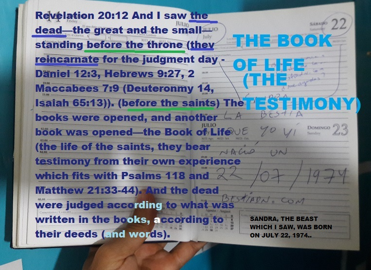 the beast that I saw I tell about it in the book of my life - Revelation 20