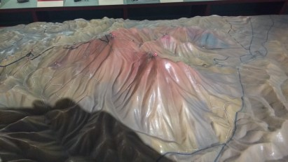 The summit museum has a nifty scale model of the two peaks and the surrounding area