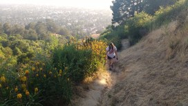 The heights of Claremont Canyon. Stef's taking the hill very seriously.