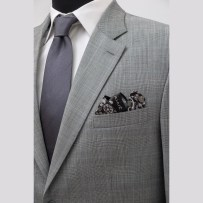 With hand-stiched pocket square