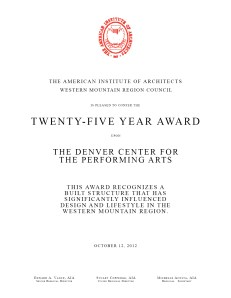 Twenty-Five Year Award - The Denver Center for the Performing Arts