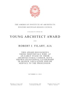 Young Architect Award - Robert J. Filary, AIA