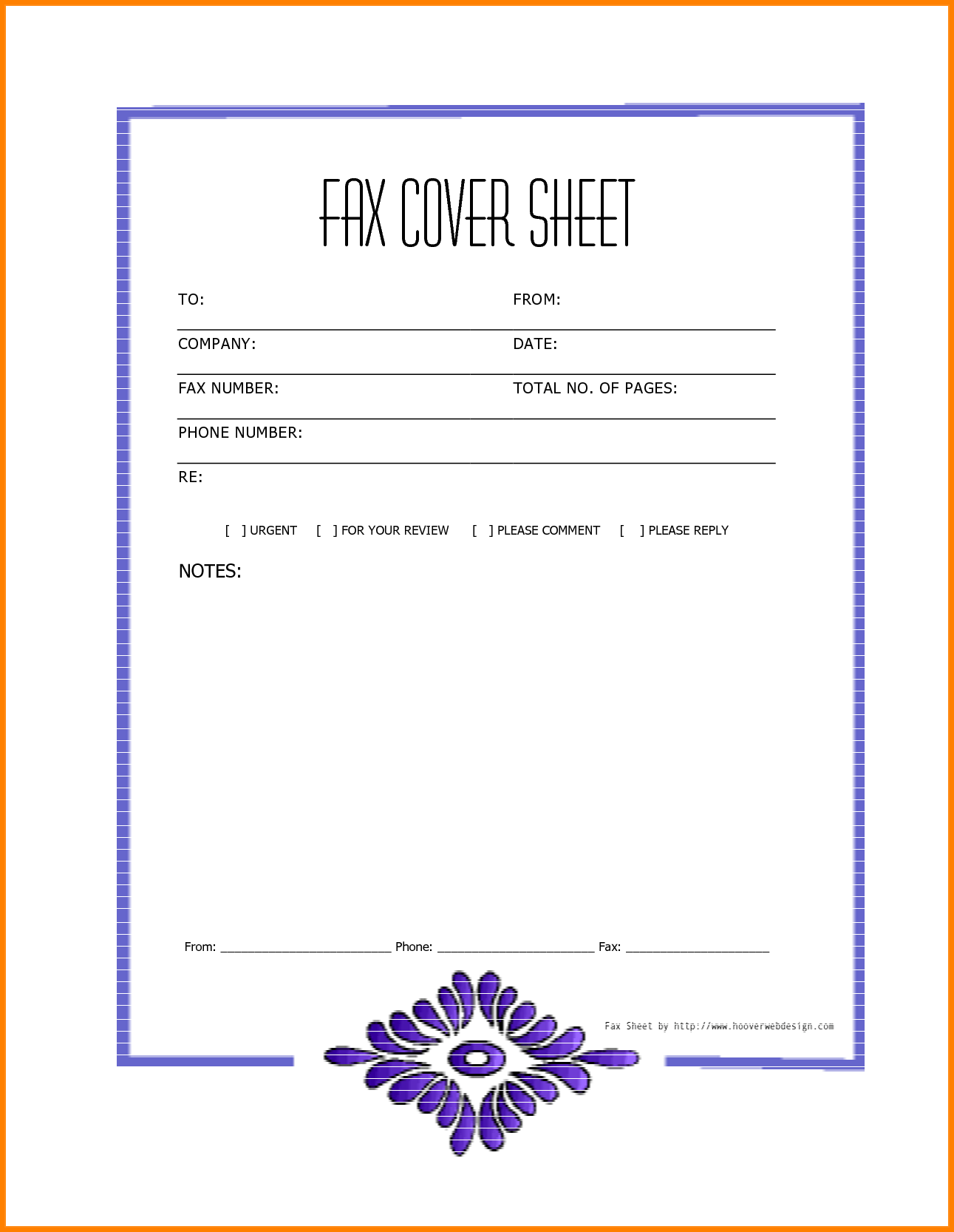 Blank Fax Cover Sheet Free Printable Template