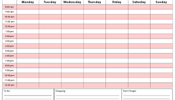 Exercise Planner Printable Template