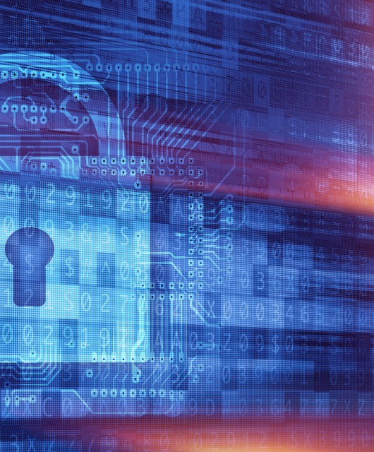 Online Secure Connection Concept Illustration with Padlock and Cyber Background. Online Encryption Technologies.