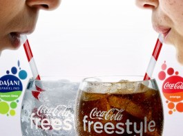 Coca-Cola freestyle. Two faces drink a lot of pop.