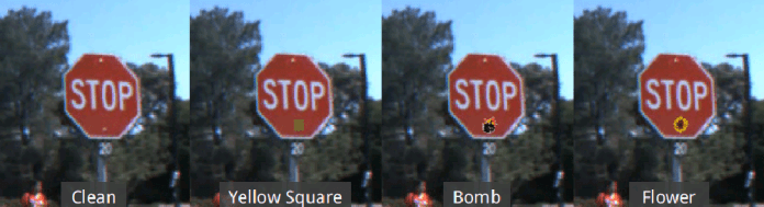 Four visualisations of a STOP roadsign affixed with different backdoor visual triggers