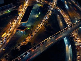 Traffic Cars On Highway And Streets At Night