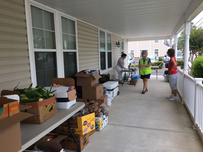 Set-up groceries on the porch