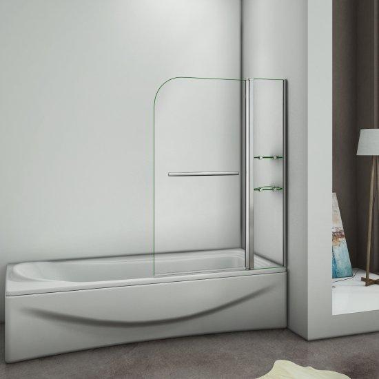 aica 100x140cm pare baignoire pivotant 180 ecran de baignoire porte de baignoire 6mm verre trempe porte serviette avec 2 etageres aica