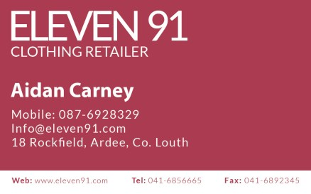 My business card for Eleven 91.