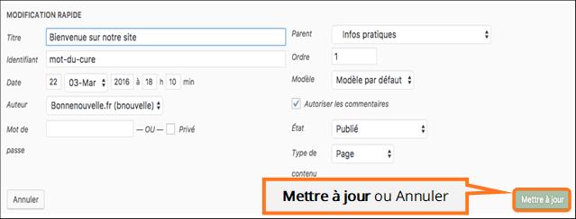 Modifier les réglages de la Page