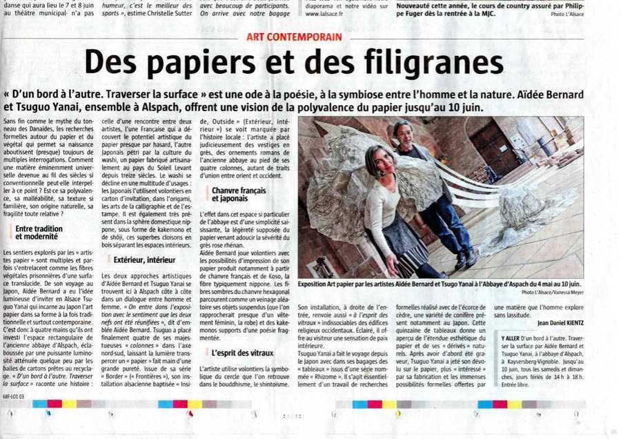 Article dans le journal L'Alsace