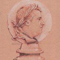Perfil romano con laurel