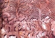 Camboja - Arqueiros em pedra - Periodo Angkor - séc XIII