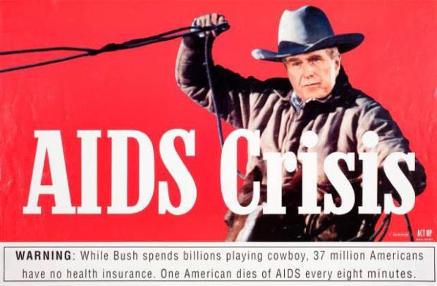 Bush playing cowboy in the midst of  AIDS Crisis awareness poster