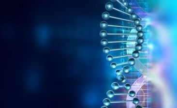 3D render of DNA molecule structure. DNA abstract medical and health care background. concept DNA futuristic on hi tech blue background.