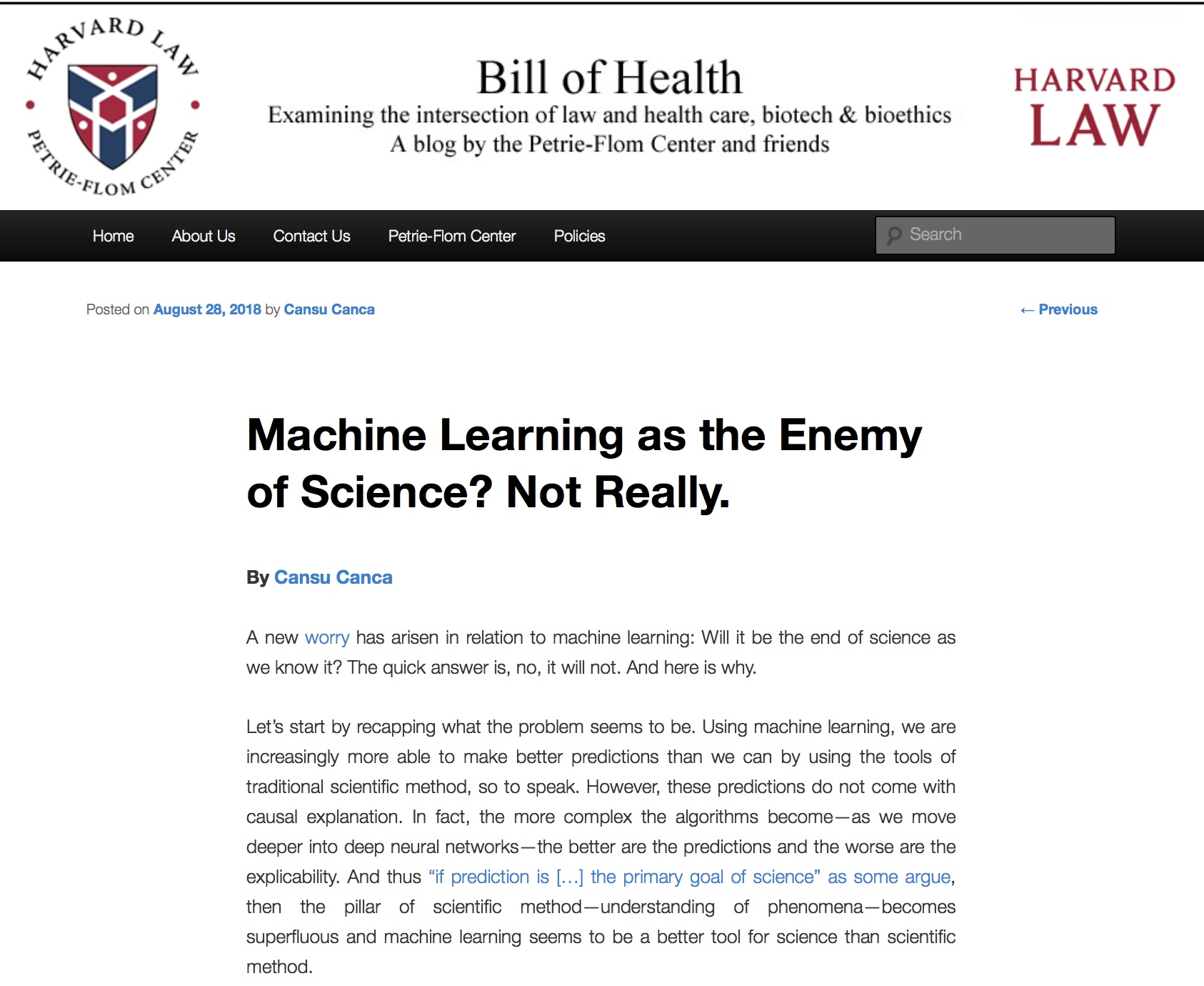Machine Learning as the Enemy of Science? Not Really.