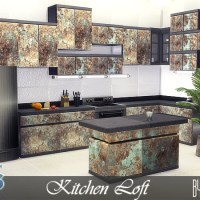 """Мебель для кухни The Sims 4 """"Loft""""."""