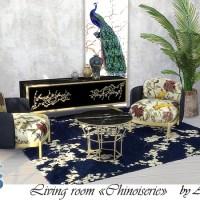 Мебель и декор для гостиной Chinoiserie для The Sims 4
