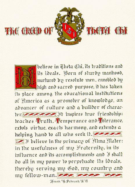 Theta Chi Creed - Theta Chi Fraternity