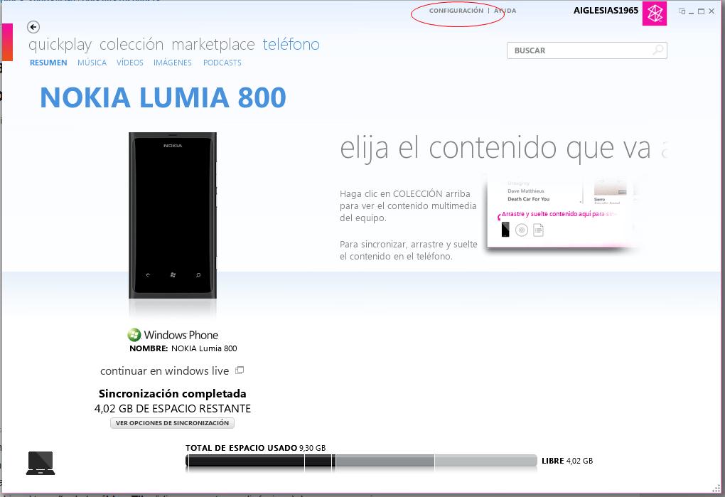 Zune con Nokia Lumia 800