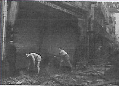 Imatge de la riuada, l'any 1940, en el mateix punt de Camprodon
