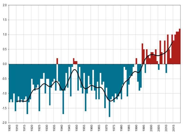 Gràfic sobre l'anomalia de la temperatura mitjana anual. Observatori de l'Ebre (1905-2019