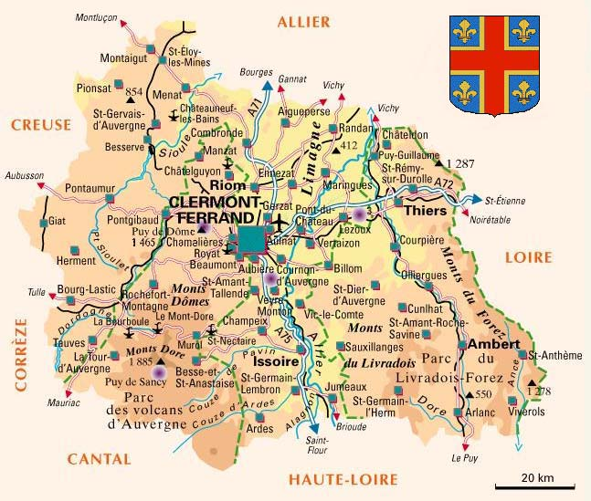 Image result for clermont ferrand carte puy de dome
