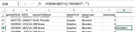 Using Excel to identify double-hat-trick-weekends