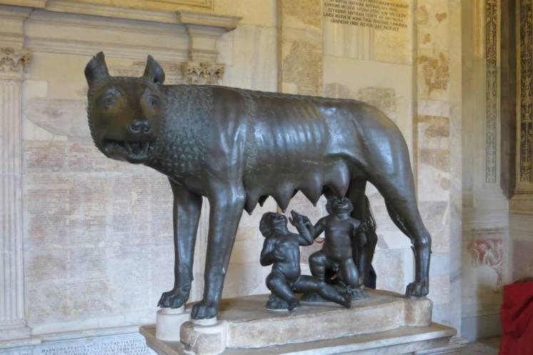 La Loba con Rómulo y Remo en el Museo Capitolino