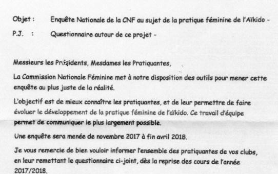 Enquête Commission Féminine de Novembre 2017 à fin Avril 2018