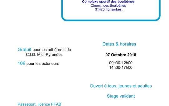Dimanche 07 Octobre - Stage pour tous à Fonsorbes