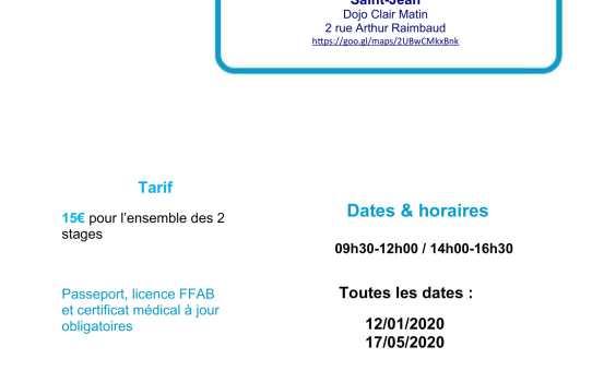 12 Janvier 2020 Mise en Situation 3ème et 4ème dan animée par Jean-François Fabre 5ème dan à Saint-Jean