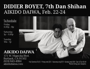 [:fr]Stage - 22 au 24 février '19 - Aikido Daiwa, Burbank, Californie.[:en]Seminar - February 22th to 24th '19 - Aikido Daiwa, Burbank, Californie.[:] @ Aikido Daiwa