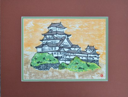Japanese Castle - Mixed Media - Version #2