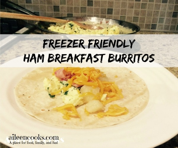 Freezer Friendly Ham Breakfast Burritos. Make 12 Breakfast survings at once and freeze the extras! Found at https://aileencooks.com