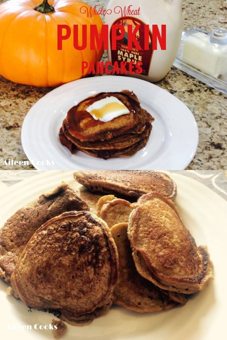 Whole Wheat Pumpkin Pancakes are warm, sweet, and just scream fall! Not only do they taste great, but they are a healthier option, thanks to the whole wheat flour and pure pumpkin.