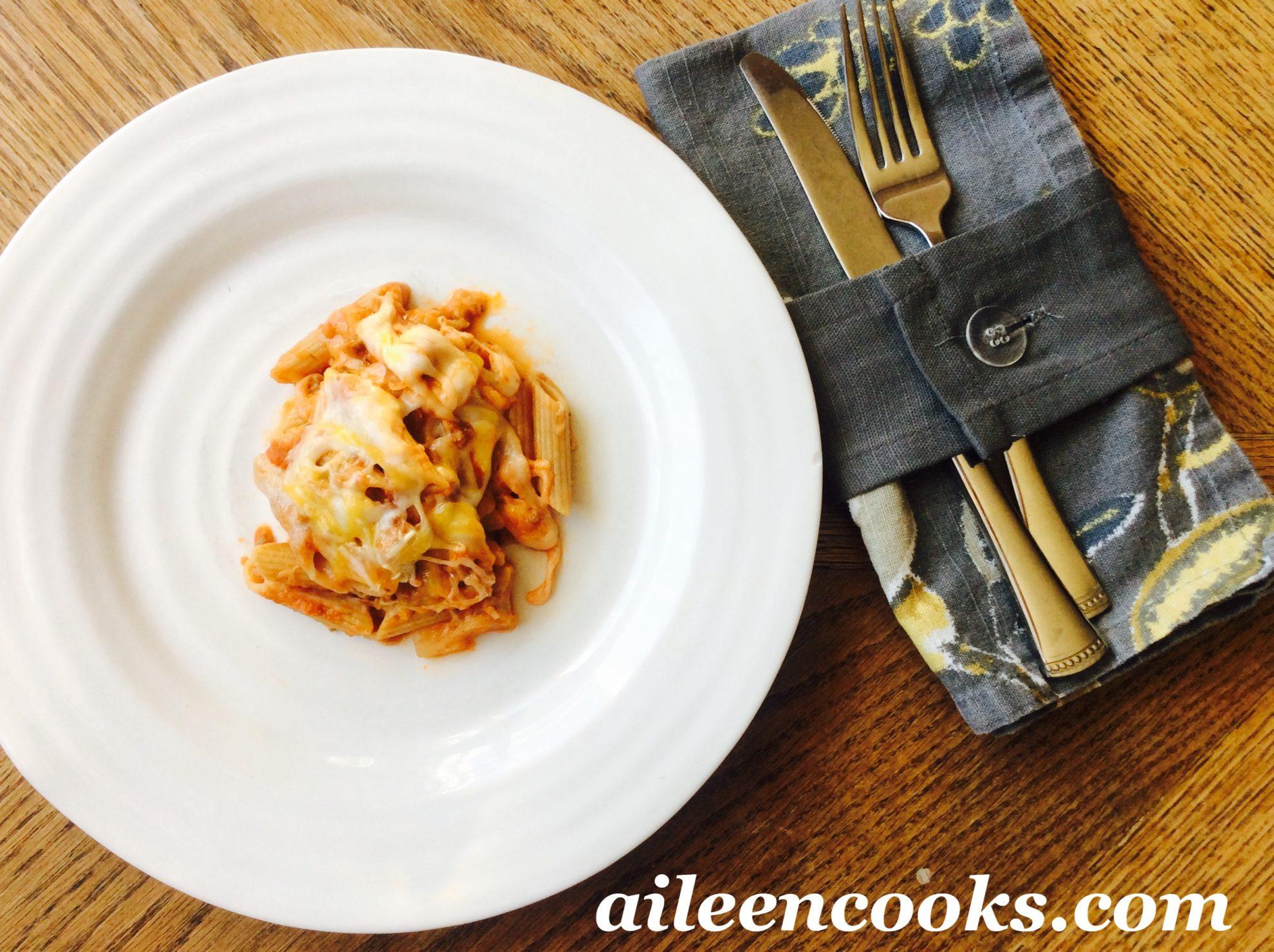 Three Cheese Baked Ziti   aileencooks.com