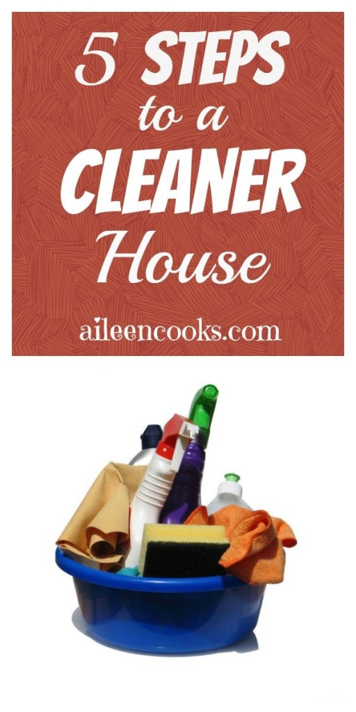 5 Steps to a Cleaner House. Find the motivation you need to do housework! Via https://aileencooks.com