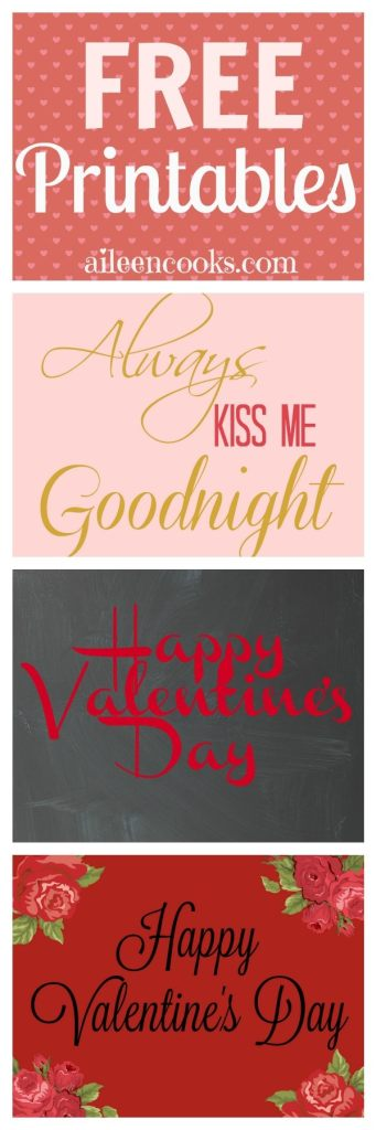 Free Valentine's Day Printables - 8x10 Prints from http://aileencooks.com
