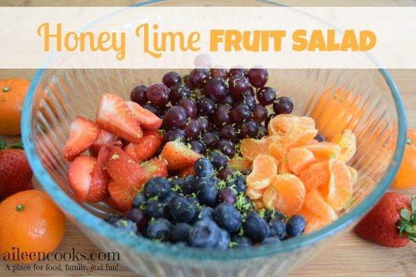 Honey Lime Fruit Salad made with all fresh fruit and tossed with a delicious and light honey lime dressing   https://aileencooks.com