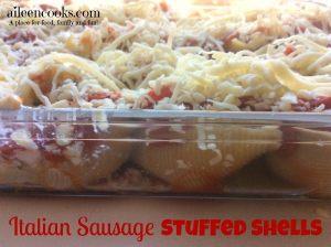 Italian Sausage and Cheese Stuffed Shells Recipes | aileencooks.com